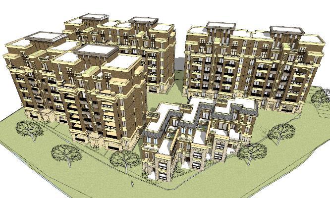 欧式多层住宅建筑