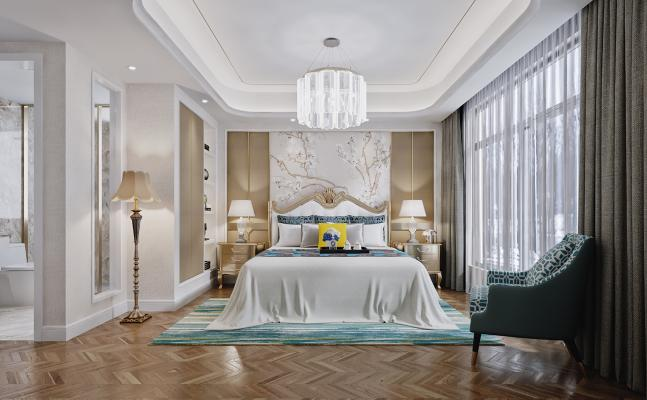 后现代卧室 床头柜 休闲椅