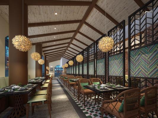 东南亚风格餐饮餐厅 餐桌椅 卡座