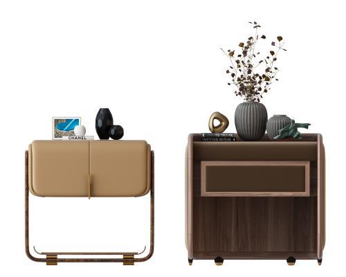 新中式现代轻奢床头柜组合