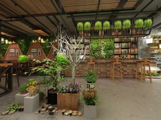 工业风书吧 餐厅 咖啡厅 铁艺隔断架 绿植