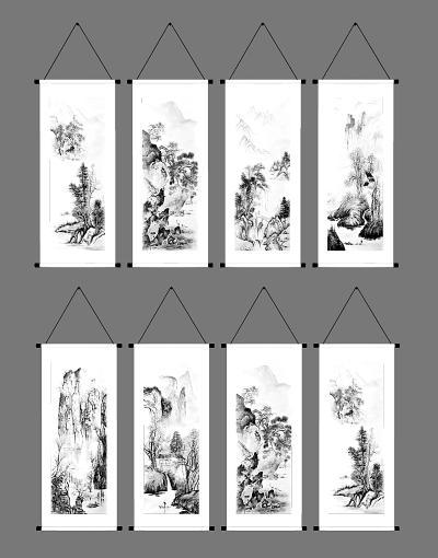 中式卷轴挂画组合