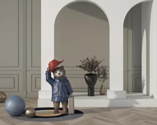 现代风格雕塑 小熊雕塑摆件
