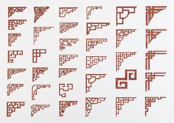 传统中式花格角花线条构件