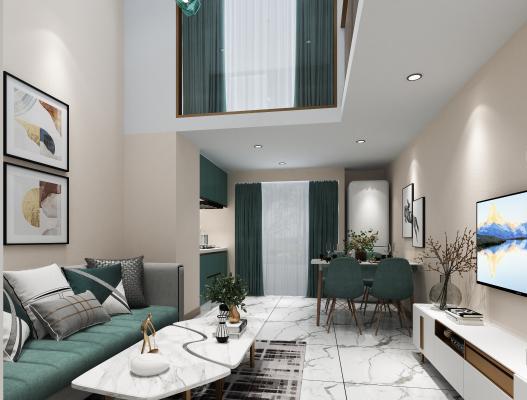 现代复式客厅 单身公寓