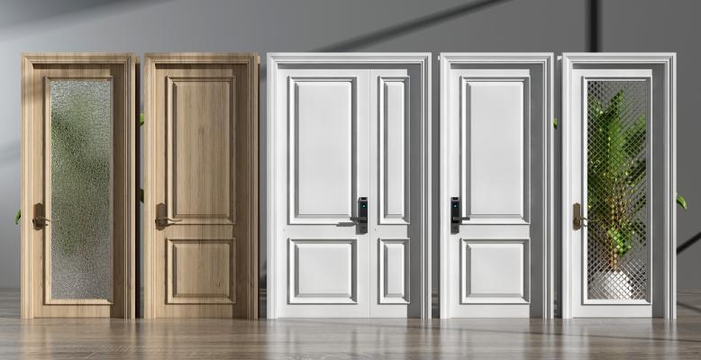 简欧实木密码门 玻璃门组合