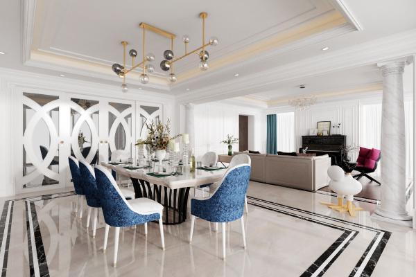 法式混搭客厅餐厅 沙发组合 餐桌椅组合