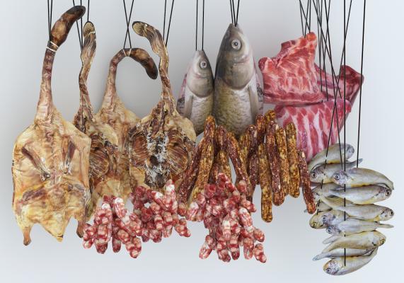 现代咸鱼 腊肉 烤鸭