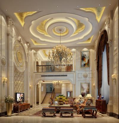 欧式古典别墅客厅 电视柜 窗帘