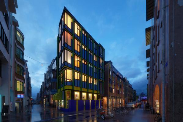 现代商业区建筑夜景