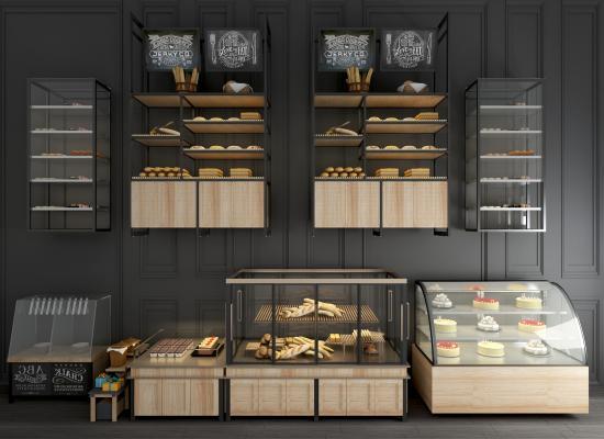 工业风面包保鲜柜展示柜组合