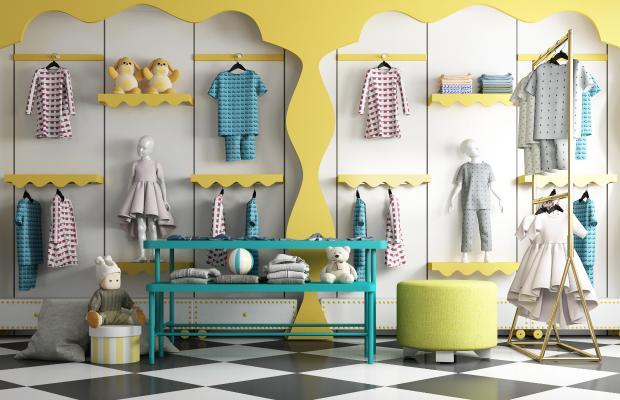 现代儿童服装店 童装衣架 桌椅组合