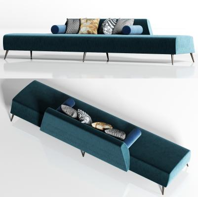 现代轻奢绒布多人沙发 枕头