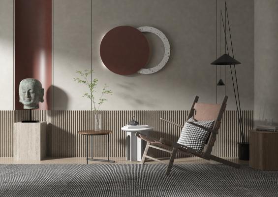 现代风格单椅 边几