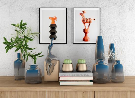 现代轻奢陶艺摆件组合