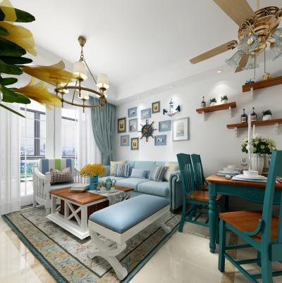 地中海客餐厅 沙发组合 餐桌椅