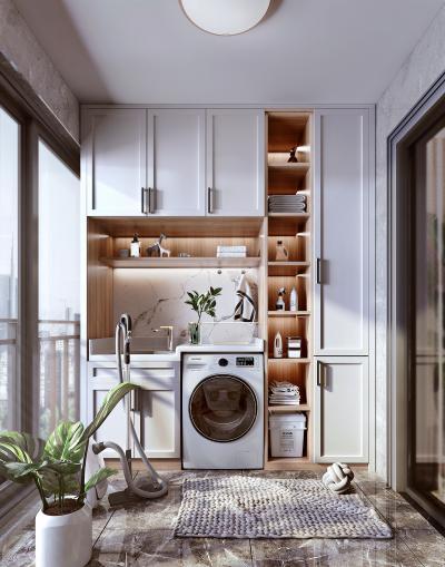 北欧阳台 洗衣柜 台盆