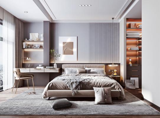 现代简约卧室 书桌 双人床
