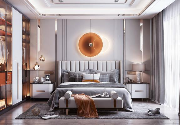 现代轻奢风格卧室 衣柜 床