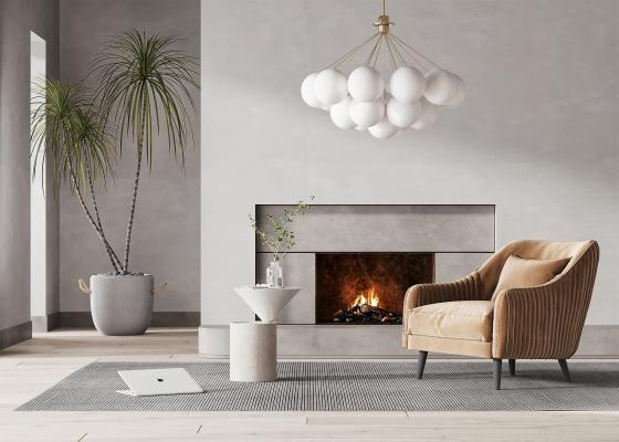 现代单人沙发 休闲沙发 单椅边几组合