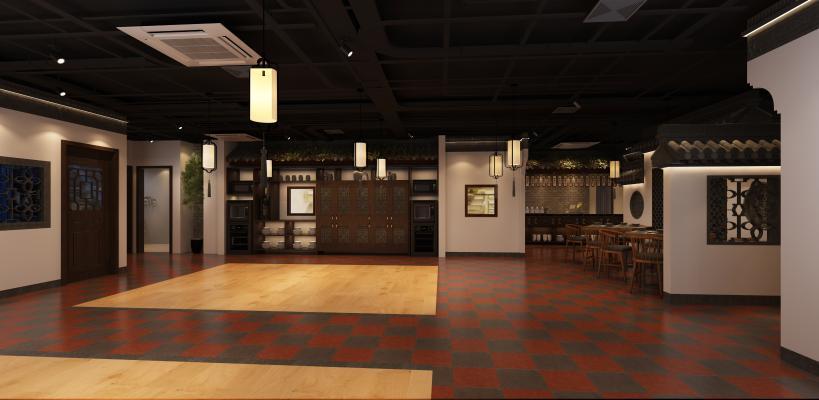 新中式风格餐厅 餐桌椅 挂画