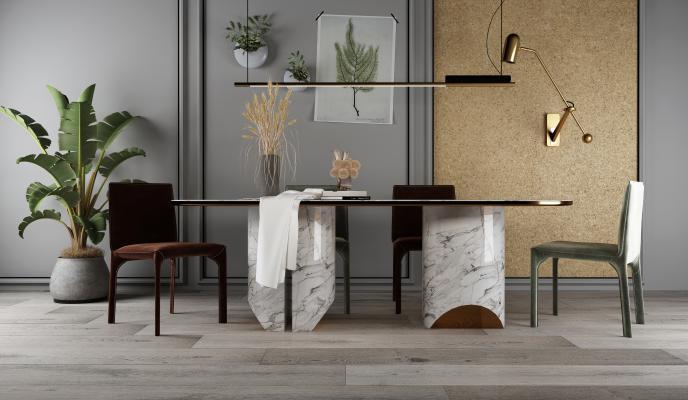 現代餐桌椅组合
