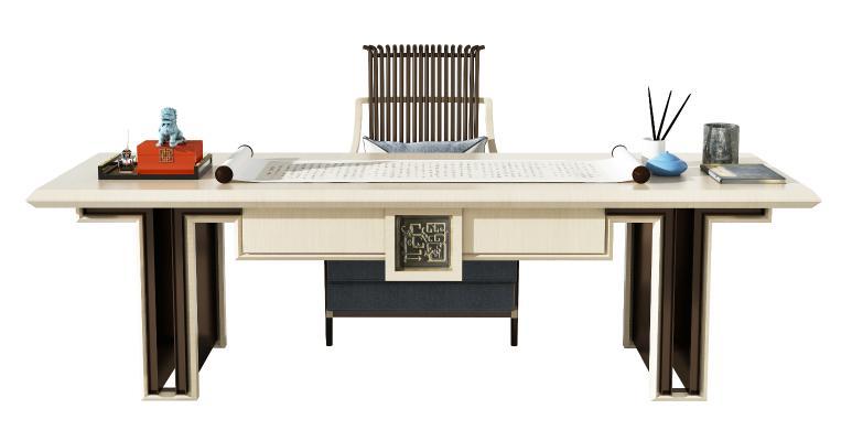 新中式書桌椅組合 裝飾品