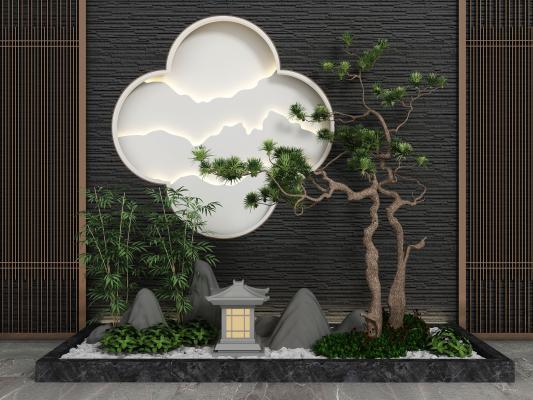新中式旱景松树 假山园艺小品