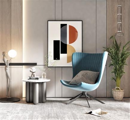 现代风格单椅边几,饰品摆件