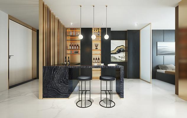 现代奢华餐厅吧台3d模型