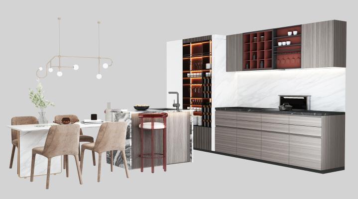 现代橱柜 餐桌椅