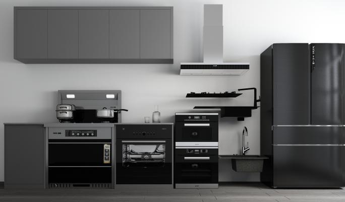 现代厨具 厨房 集成灶 消毒柜 水槽 冰箱 烤箱 微波炉