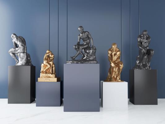 现代人物雕塑 装饰摆件 艺术品