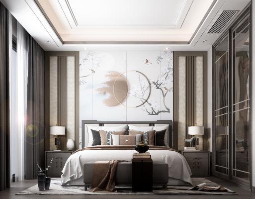 新中式卧室 装饰画