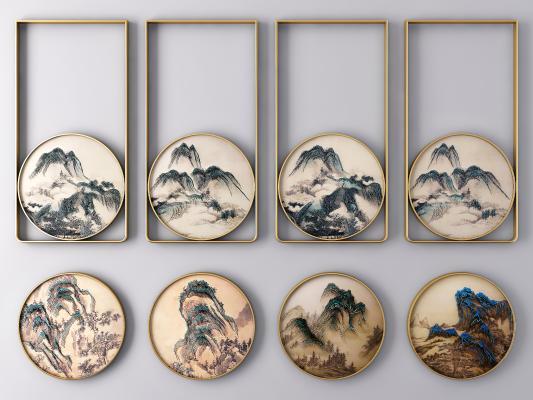 新中式圓框山水風景裝飾掛畫 風景畫 山水畫
