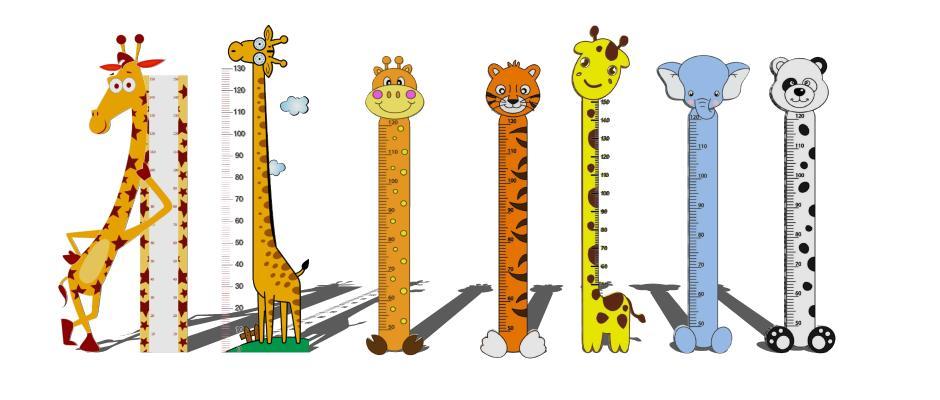 儿童房卡通造型长颈鹿量尺