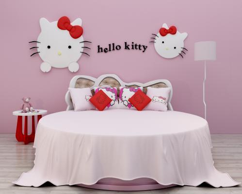 hellokitty现代圆床 床 双人床 女孩床 主题圆床 简约圆床 个性圆床