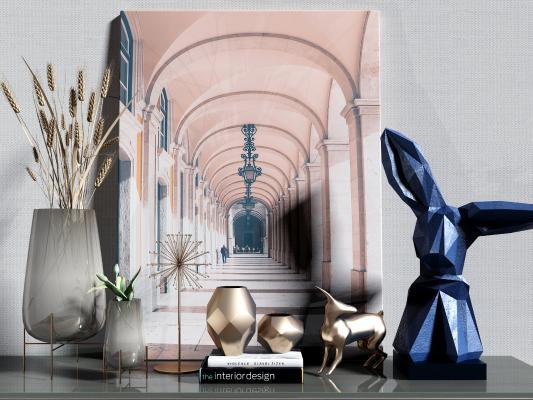 现代金属轻奢雕塑 摆件组合
