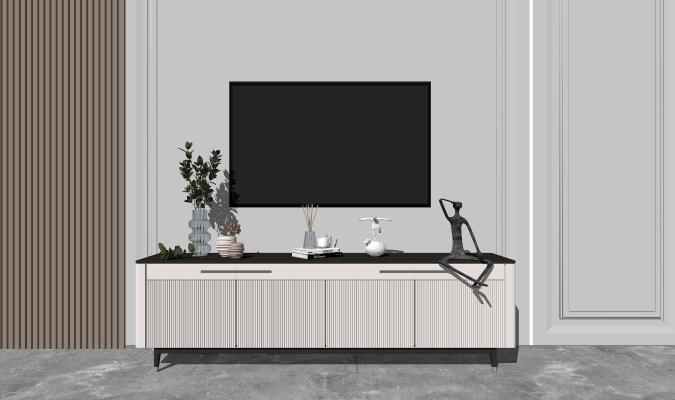 现代简约轻奢电视柜背景墙组合