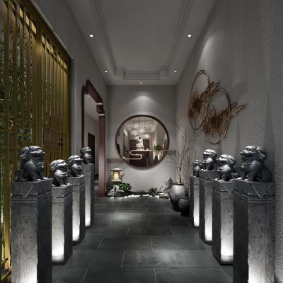 新中式餐厅走廊 石狮子 景观