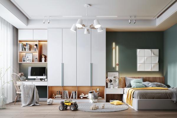 北欧风格卧室 书桌 书柜
