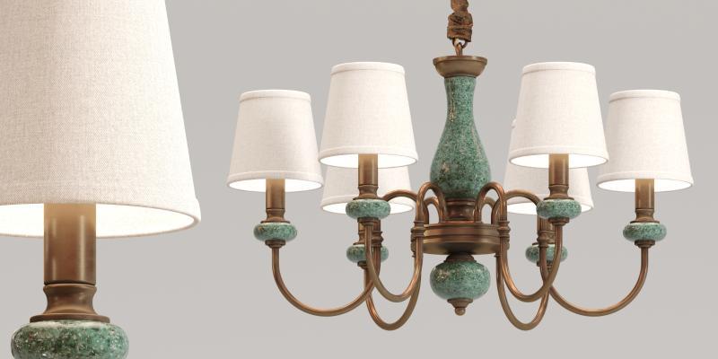 古典旧铁陶瓷多头吊灯