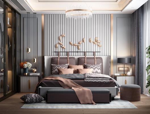 現代奢卧室 床头背景墙 床具组合