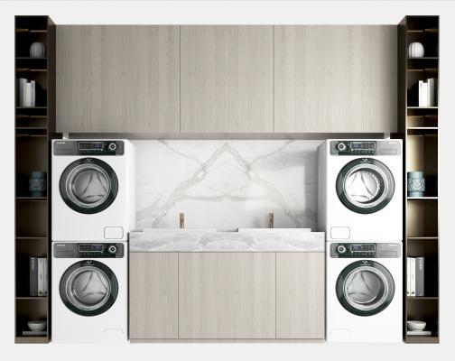 现代洗衣机浴室柜 洗手柜 洗衣机伴侣