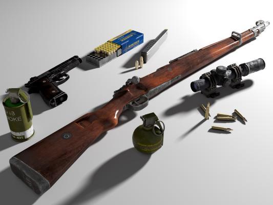 现代战争武器栓动单发狙击步枪 毛瑟Kar98K 8倍瞄准镜 手枪
