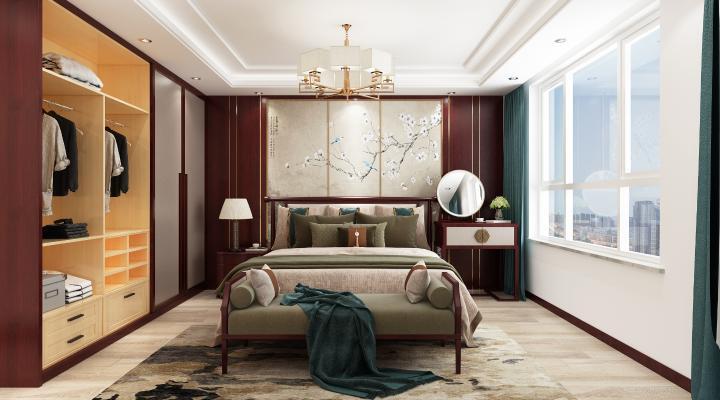 中式臥式 雙人床 衣柜