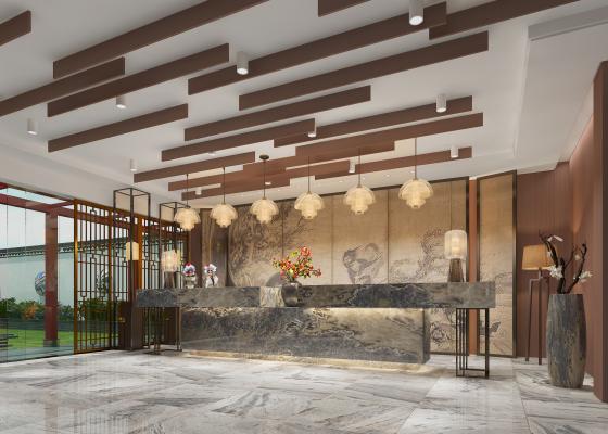 新中式民宿酒店大厅 庭院外观