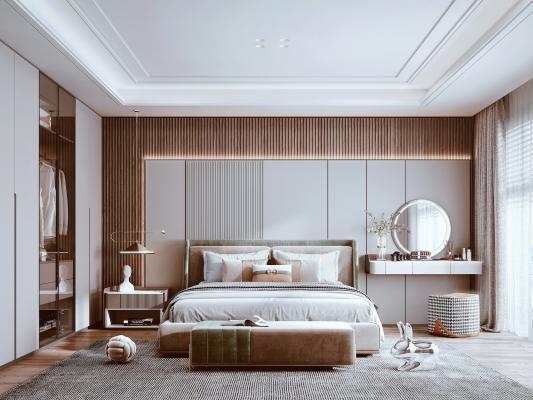 現代臥室 布藝雙人床 梳妝臺