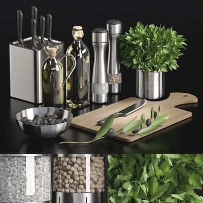 现代厨房用品组合 砧板 菜刀