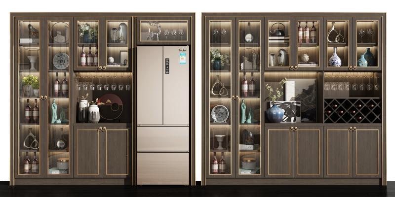 新中式酒柜冰箱组合